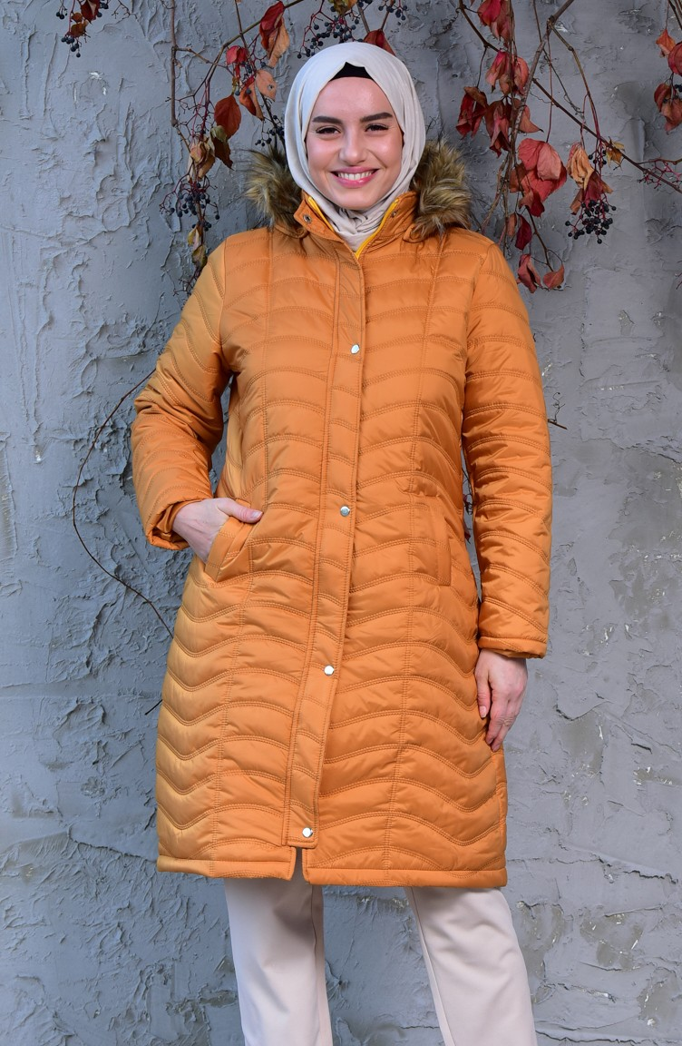 6454aebe1 Large Size Padded Coats 3017-06 Mustard 3017-06
