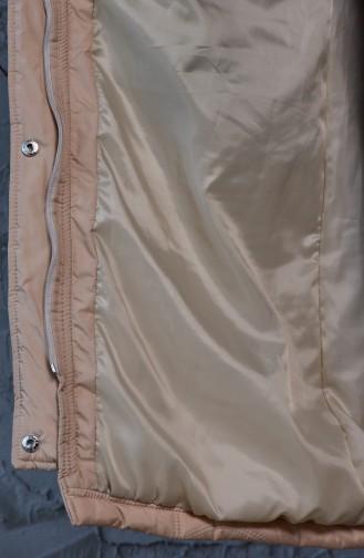 Grosse Grösse gesteppter Mantel 3017-08 Beige 3017-08