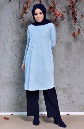 تونيك بتصميم أكتاف واسعة 7714-01 لون أزرق فاتح 7714-01