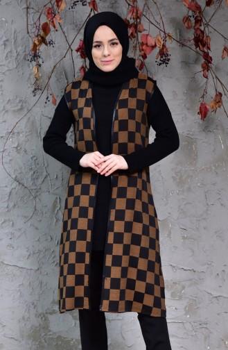 iLMEK Knitwear Checkered Vest 5200-01 Black Taba 5200-01