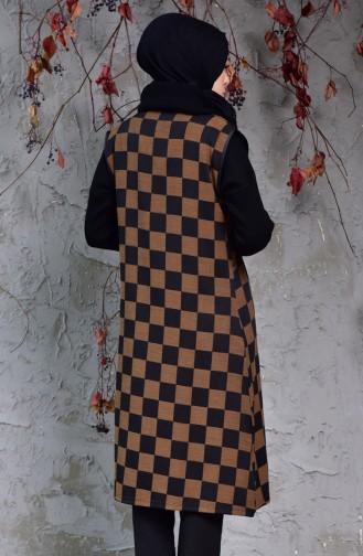 Triko Kareli Yelek 5200-01 Siyah Taba 5200-01