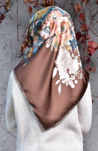Karaca Rayon-Schal mit Blumenmuster 90549-08 Hellbraun Dunkelbraun 90549-08