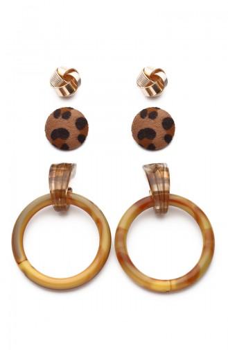 Bamboo Detailed Multiple Earring Kp7530 7530