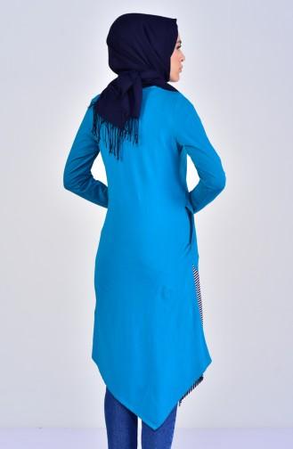 تونيك غير مُتماثل الطول بتصميم قطن 99168-09 لون بترولي 99168-09