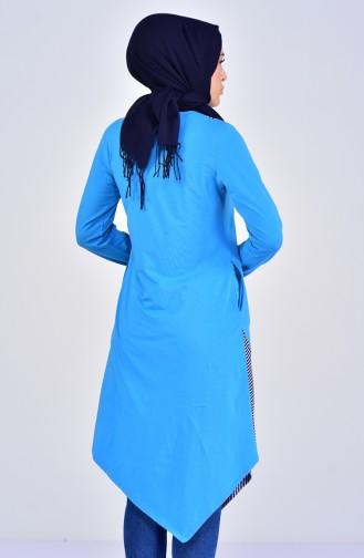 تونيك غير مُتماثل الطول بتصميم قطن 99168-10 لون ازرق 99168-10