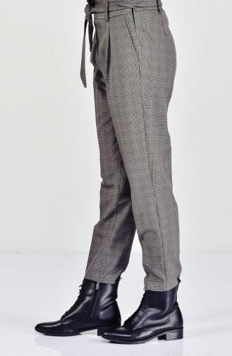 Plaid Patterned Pants 1310A-02 Khaki 1310A-02