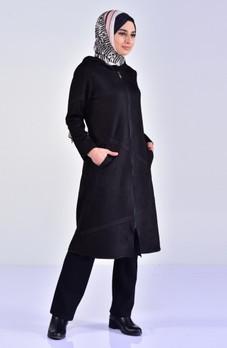 Hooded Suede Cape 5099-03 Black 5099-03
