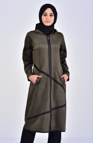 Hooded Suede Cape 5099-04 Khaki 5099-04