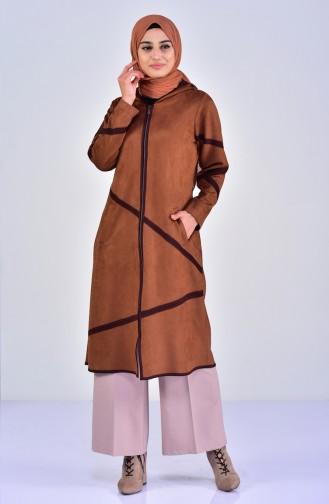 كاب شامواه بتصميم موصول بقبعة 5099-05 لون عسلي 5099-05