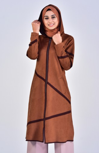Hooded Suede Cape 5099-05 Taba 5099-05