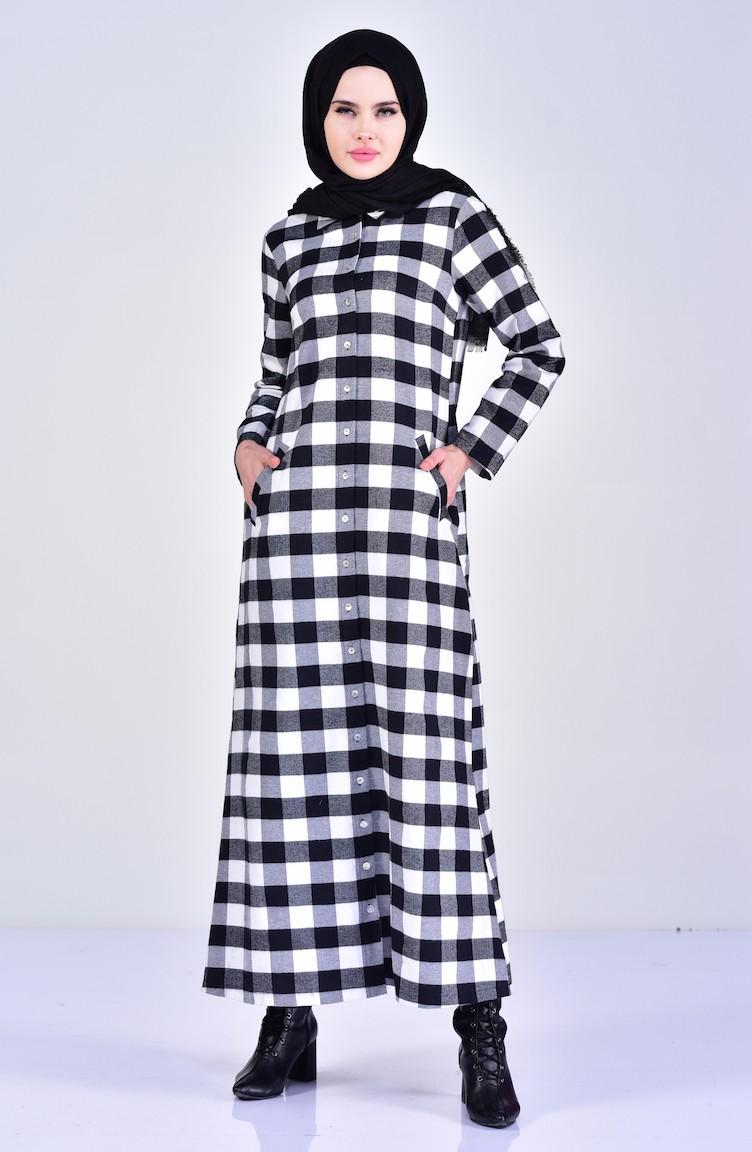 f45c5ceeef Robe a Carreaux 1002-01 Noir Blanc 1002-01