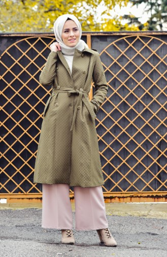 Buttoned Trench Coat 0203-02 Khaki Green 0203-02