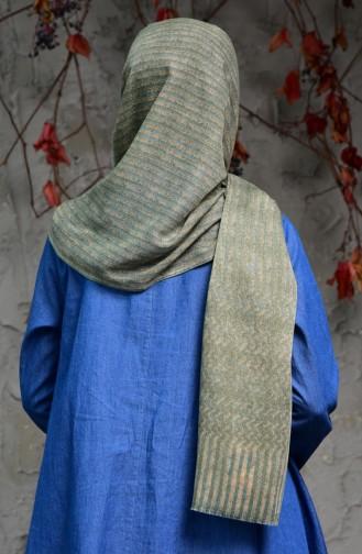 Linie gemusterter Cotton Schal 2118-05 Beige Minzengrün 2118-05