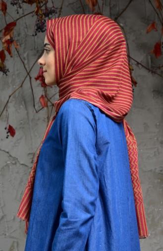 Çizgi Desenli Cotton Şal 2118-07 Gül Kurusu Safran Renk