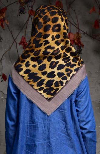 Leopard Patterned Flamed Linen Scarf  2119-02 Light Beige 2119-02