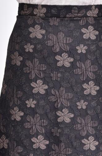 Çiçek Desenli Etek 7226-03 Kahverengi 7226-03