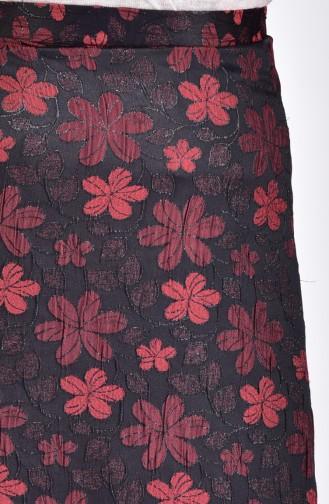 تنورة بتصميم مورّد 7226-04 لون قرميدي 7226-04