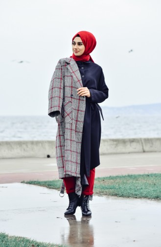 Belted Cachet Coat 5111A-01 Black Red 5111A-01