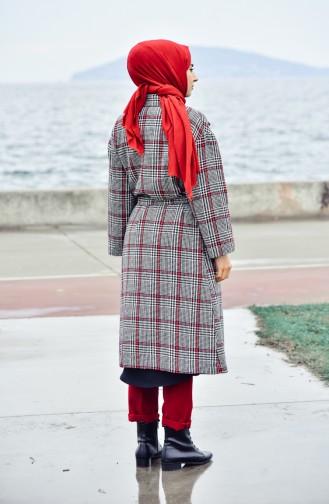 Fleece Mantel mit Gürtel 5111A-01 Schwarz Rot 5111A-01