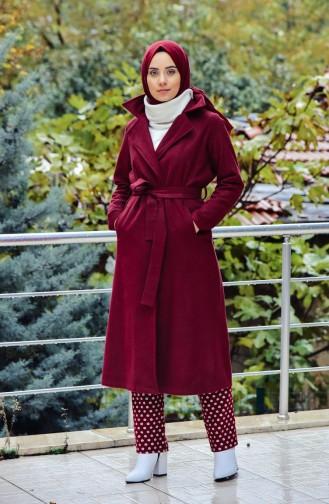 Belted Fleece Cape 8404-05 Claret Red 8404-05