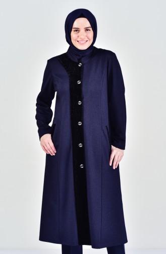 Plus Size Buttoned Cape 1083-04 Navy Blue 1083-04