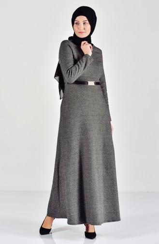 فستان بتصميم حزام خصر 7128-06 لون أخضر كاكي 7128-06
