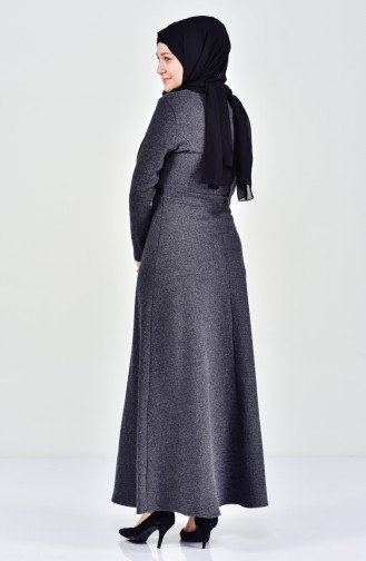 Gürtel Detalliertes Kleid 7128-08 Anthrazit 7128-08