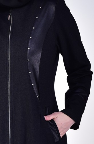 Large Size Zippered Overcoat 1080-01 Black 1080-01