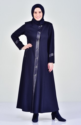 Large Size Buttoned Overcoat 1082-02 Navy Blue 1082-02