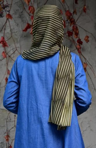 Striped Printed Cotton Shawl 2121-04 Khaki 2121-04