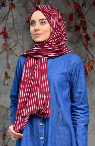 Striped Patterned Cotton Shawl 2121-07 Cherry 2121-07