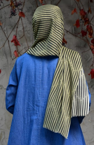 Striped Patterned Cotton Shawl 2121-09 Light Khaki Green 2121-09