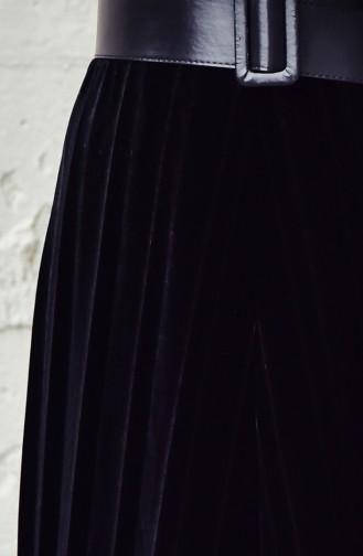 Jupe Velours Plissée 5203-01 Noir 5203-01
