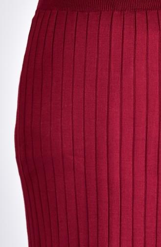 تنورة قصة مستقيمة بتصميم مطاط  31881-07 لون خمري 31881-07
