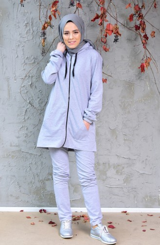 Zippered Tracksuit Suit 18108-03 Gray 18108-03