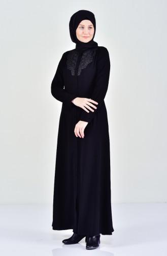 Detailed Abaya 5010-01 Black 5010-01