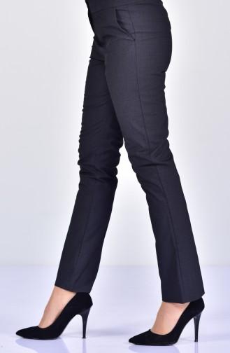 Plaid Patterned Straight Leg Pants 2064A-01 Black 2064A-01