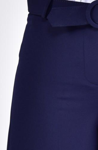 بنطال بتصميم حزام وقصة واسعة من اسفل 3121-01 لون كحلي 3121-01