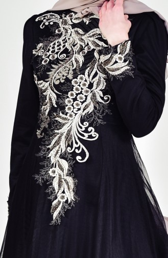 Hijab Kleid mit Spitze 6147-01 Schwarz 6147-01