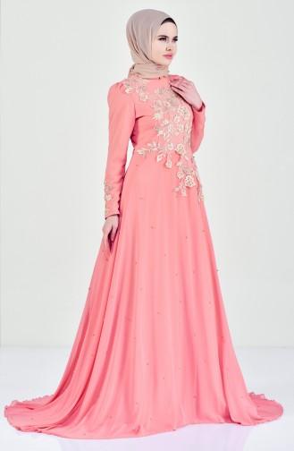 Flower Appliqued Evening Dress 6150-01 Salmon 6150-01
