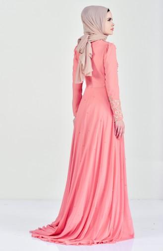 فستان مُزين بالورد بمقاسات كبيرة 6150-01 لون مشمشي 6150-01