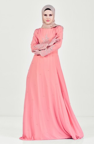 Laced Pearl Evening Dress 6151-01 Salmon 6151-01