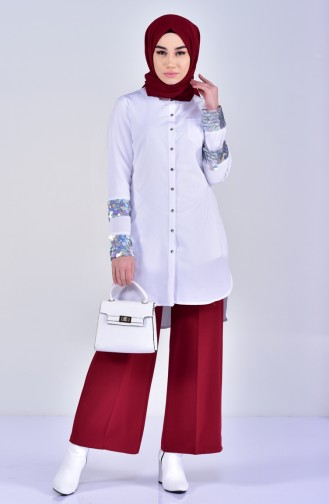 Sequin Detailed Shirt 1811930-100 White 1811930-100