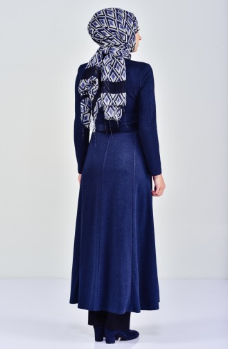 Belted Winter Abaya 5919-03 Navy Blue 5919-03