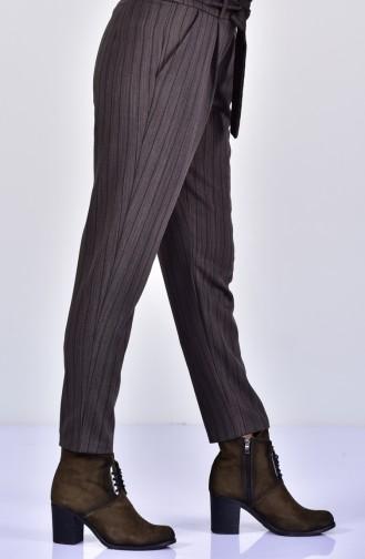 Pantalon a Rayure et Ceinture 182540-02 Khaki 182540-02