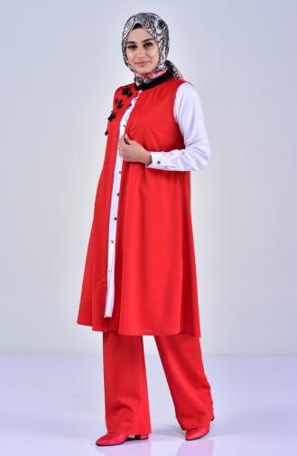 Silvery Vest Pants Double Suit 0242-01 Red 0242-01