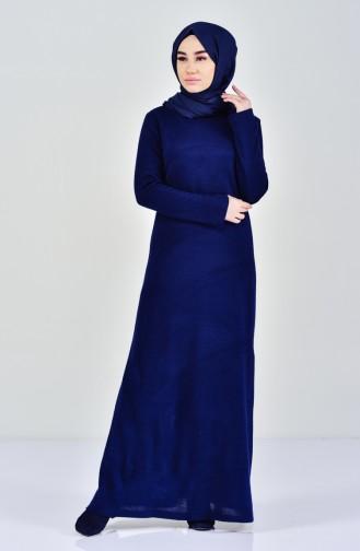 Triko Elbise 7218-01 Lacivert