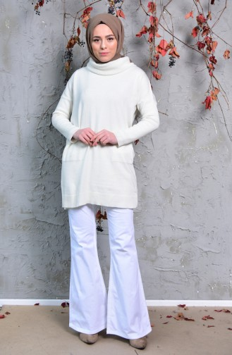 MIHRISAH Spanish Leg Trousers 2328-02 White 2328-02