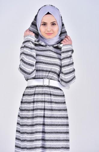 فستان موصول بقبعة بتصميم مُحاك 1006-01 لون رمادي 1006-01