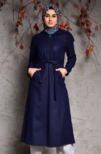 Navy Blue Long Coat 1006-02